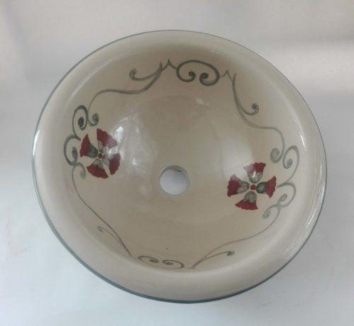 Lavabo Ceramica fondo Beige Greca Granate