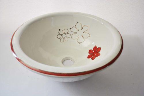 Lavabo Blanco Siglo XVIII Flor Roja