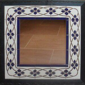 Espejo de cerámica greca azul