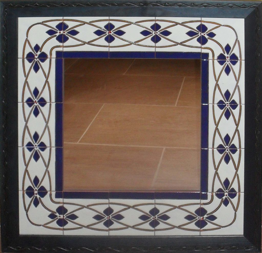 Espejo cerámica Greca azul