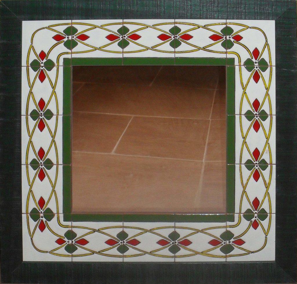 Espejo cerámica greca verde